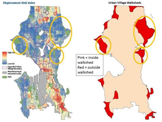 Displacement Index compared to proposed Urban Village walksheds (click for larger version).