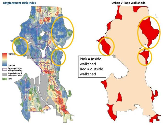Displacement Index compared to Urban Village walksheds. Magnolia and Northeast Seattle are too big gaps in urban village access.