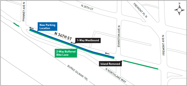 Map of the N 34th St protected bike lane improvements.