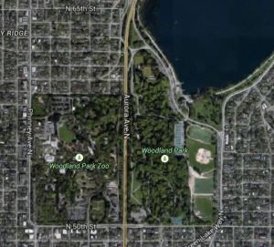Separation of Woodland Park by Aurora Ave N.