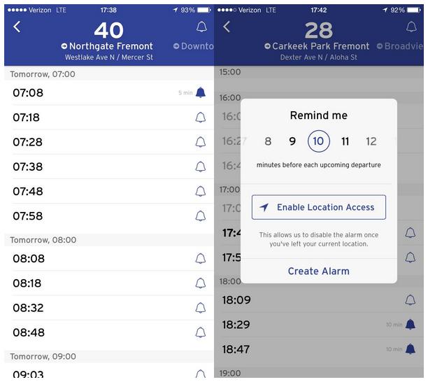 Transit App Alarms