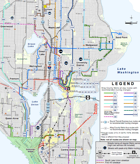 Recommended all-day network by the King County Executive.