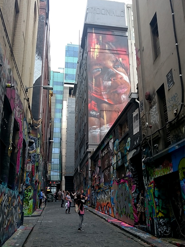 Melbourne's Hoisier Lane is iconic for its street art which creates into a giant wall of colour, trickling down to the uneven bluestone paving and wrapping to a connecting laneway.