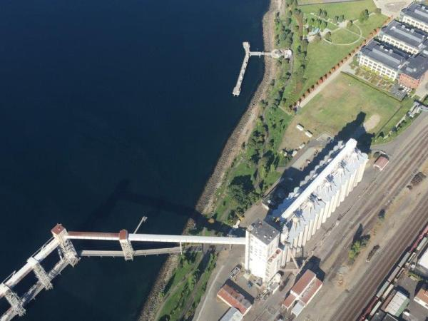 Aerial of grain silos on Elliott Bay. Image courtesy of Christopher Ross.