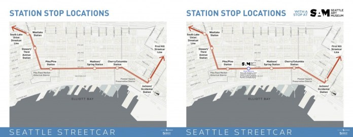Missed Opportunities: The CCC as planned (left) & with an additional stop at the Seattle Art Museum (right)