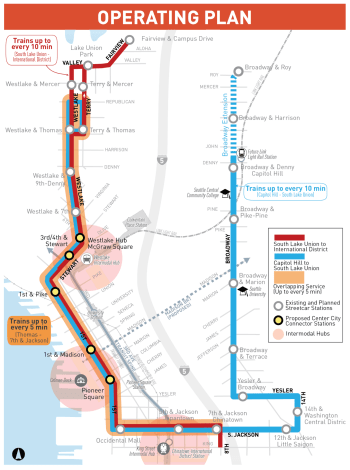 How SDOT plans to operate the streetcar system once the Center City Connector opens. (City of Seattle)