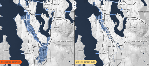 Inundation in Seattle at 2100. (Climate Central)