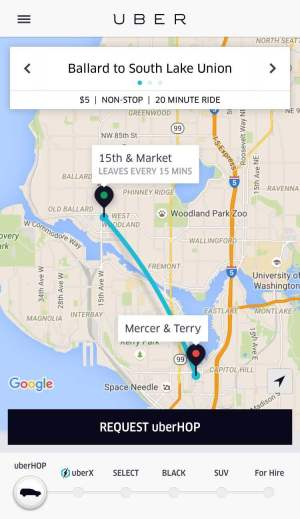 Non-stop uberHOP from Ballard to South Lake Union.