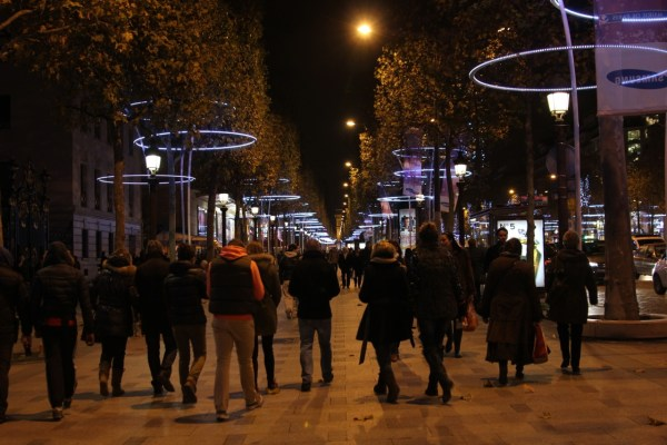 In 2013, Koert Vermeulen and Marcos Vinals Bossols won the international competition to design the lights for Champs-Elysées encircling 200 street trees with hoops of light, a display which was more ecologically friendly than previous years, using 65% less energy. (Photo by Sarah Oberklaid)