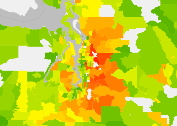 Central Puget Sound average annual household carbon footprint (2013) by zipcode. (UC Berkeley CoolClimate Network)