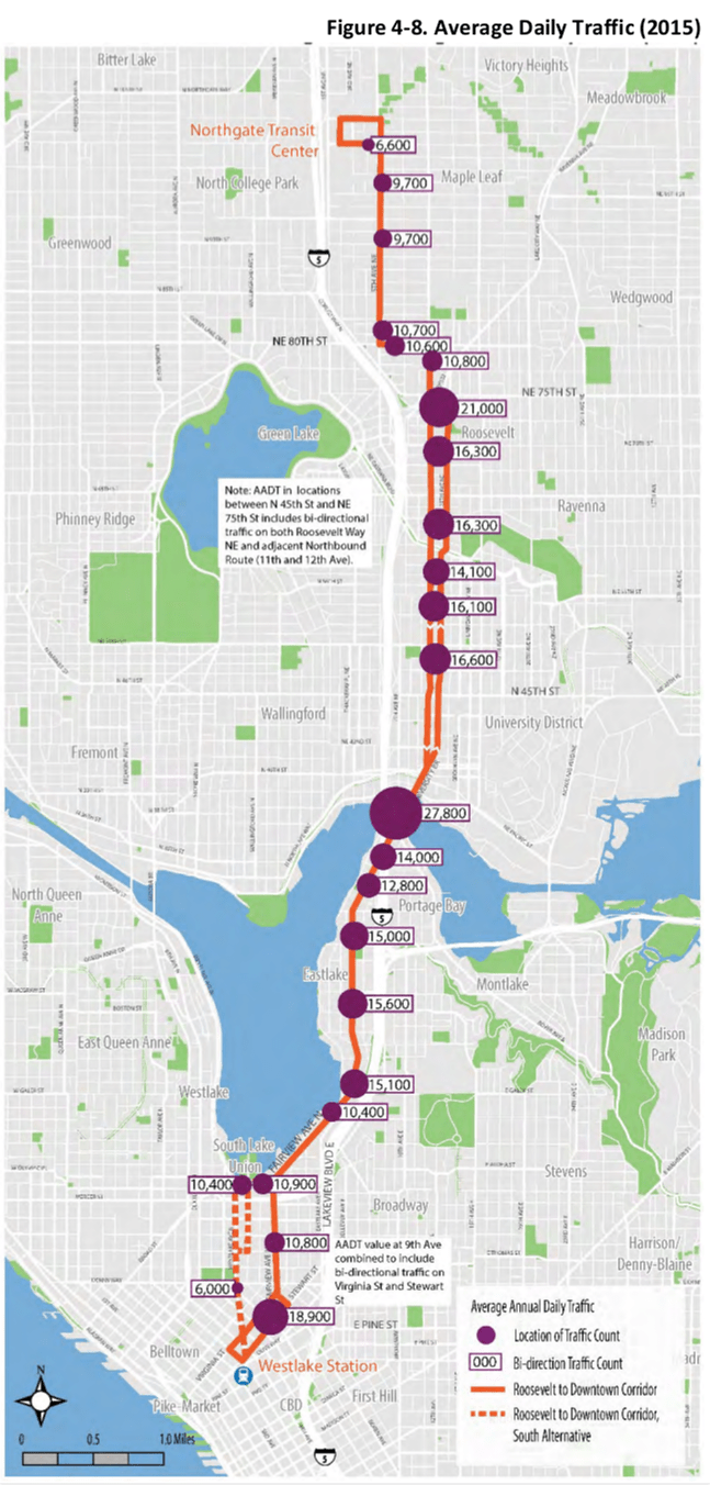 Average daily traffic in 2015. (City of Seattle)