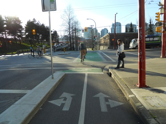 Turn lanes for bikes in Vancouver. (Photo by the author)