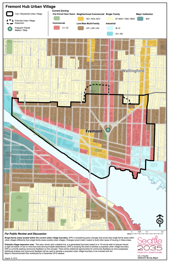 Fremont's urban village boundaries appear ripe for expansion. (Seattle Department of Planning and Development)