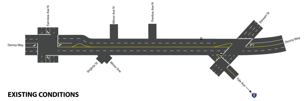 Denny Way as it is today. Click for larger version. (Graphic by Scott Bonjukian)