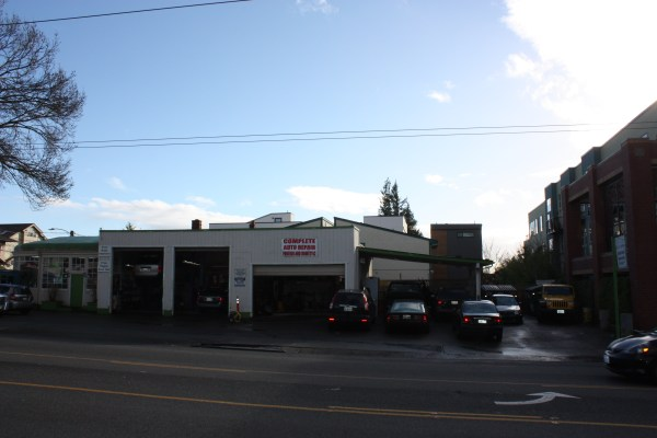 Across the street from Taco Time is Green Care Auto Repair.
