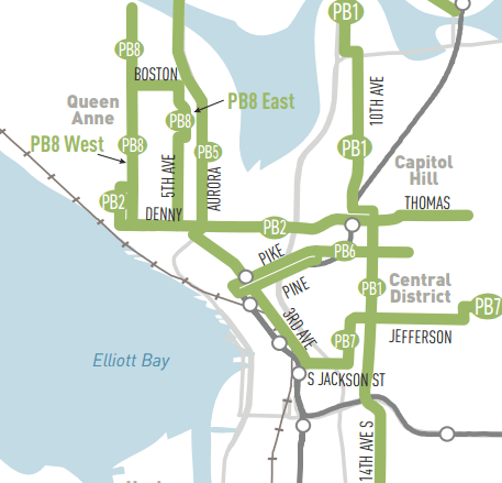 Priority Bus Corridors in central Seattle. (City of Seattle)