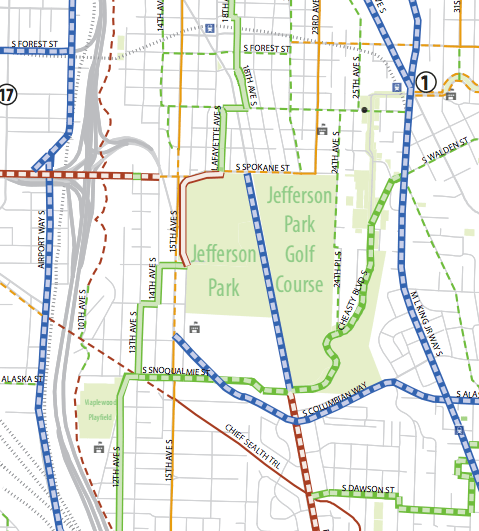 Excerpt of existing and planned bike corridors. Solid green = existing Greenways. (City of Seattle)