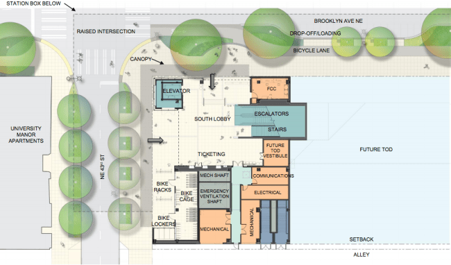 Layout of the south lobby and adjacent street improvements. (Sound Transit / LMN Architects / Swift Company)