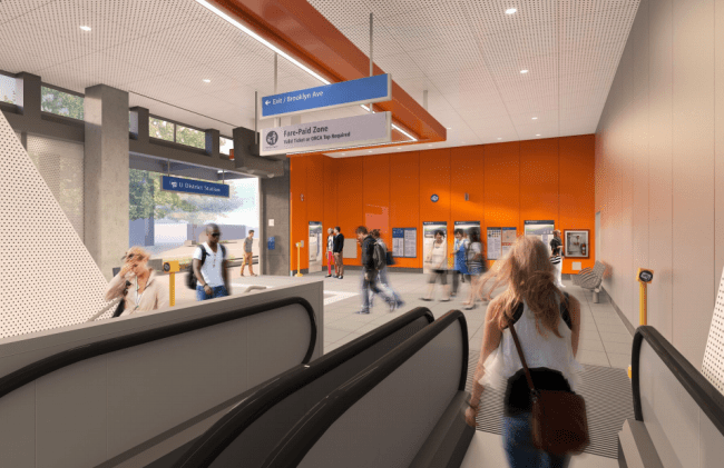 When riders reach the north lobby, they'll see straight out to Brooklyn. (Sound Transit / LMN Architects)