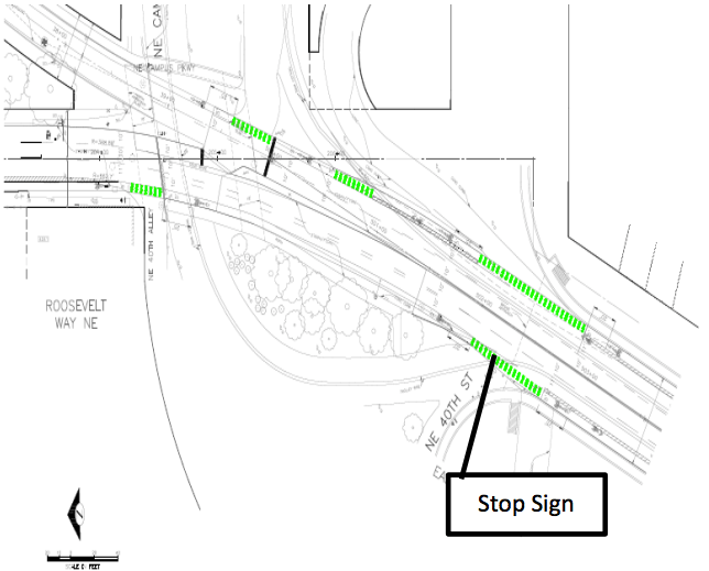 Layout of proposed bike facility improvements on Eastlake Ave. (City of Seattle)