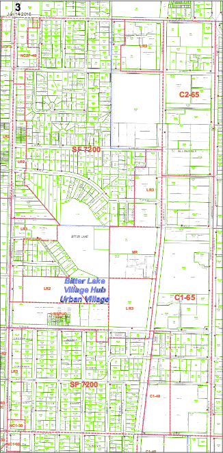 Bitter Lake is zoned with Type V in mind, but zoning changes or a CLT bonus could push the neighborhood beyond that. (DPD Map 3)