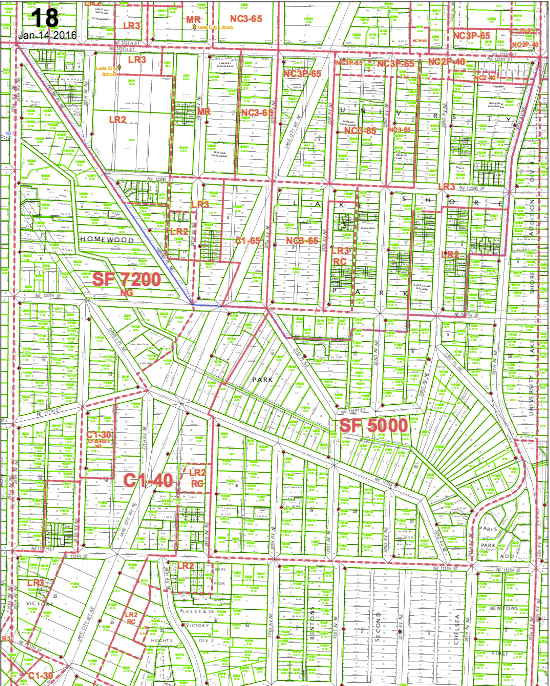 Lake City includes some NC-85 and C-85 zoning near the intersection of Lake City Way and 125th Street. (DPD Map 18)