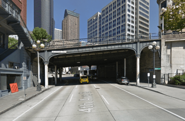Yesler Way bridge across Fourth Avenue. (Google Streetview)