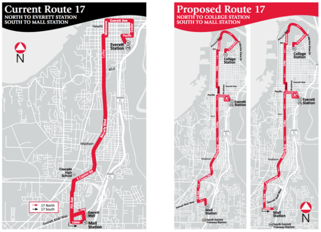 Current and proposed Route 17. (City of Everett)
