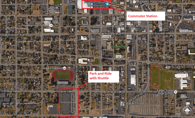 Puyullap park and ride facilities for Sounder. (Google Maps)