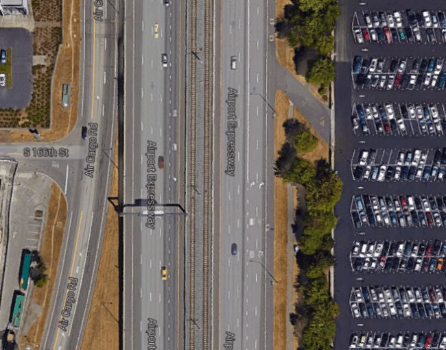 The Airport Expressway today at S 166th St. (Google Maps)