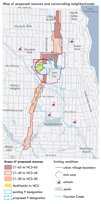 Areas proposed for rezoning in and around Lake City. (City of Seattle)