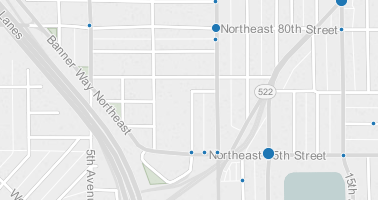 Pedestrian collisions: 2007-2014; the large dot at 12th Ave NE & Banner Way NE is four crashes. (City of Seattle)