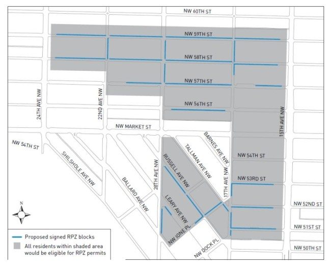 The proposed RPZ for central Ballard. (City of Seattle)