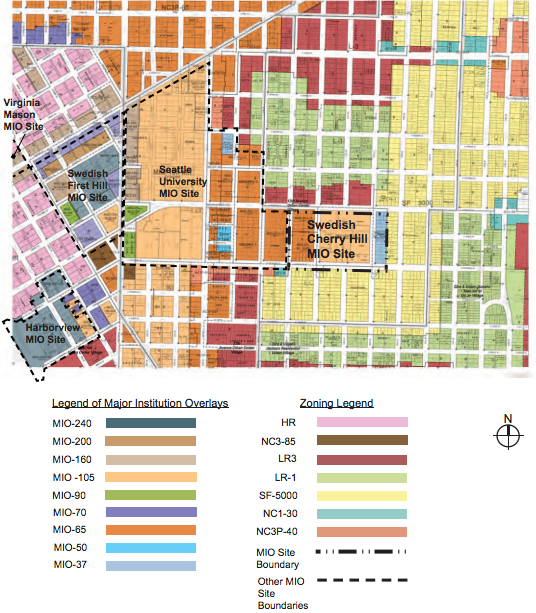 Existing zoning near the Swedish Cherry Hill campus. (City of Seattle)