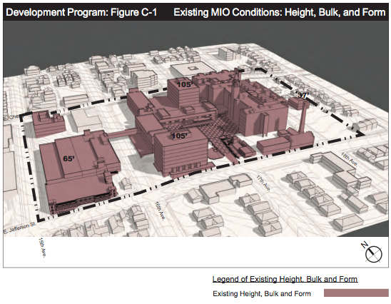 Bulk form of the existing campus. (City of Seattle)