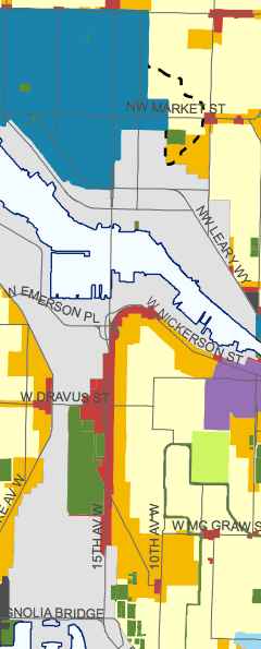Seattle 2035 Land Use Map for the Ballard to Downtown Alignment. (City of Seattle)