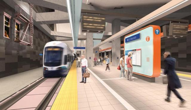 The Ballard-to-UW line would connect with the Central Link at the U District station at Brooklyn Avenue. (Sound Transit)