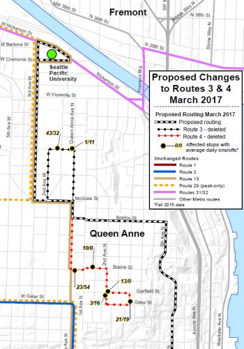Queen Anne Bus Route 3/4 Changes (King County Metro)