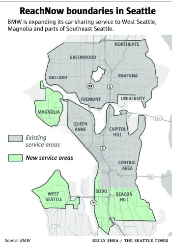 ReachNow's expansion areas to Magnolia, West Seattle, and portions of South Seattle. (The Seattle Times)