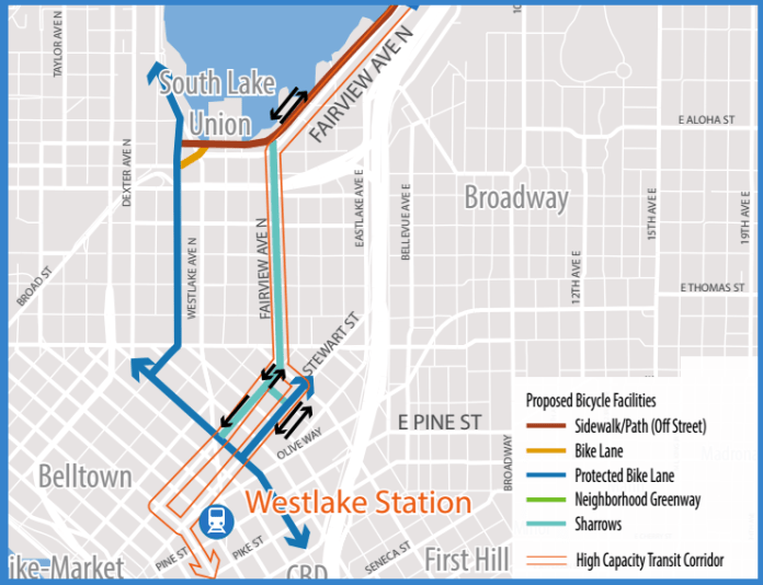 The downtown bike aspects of the plan. (City of Seattle)