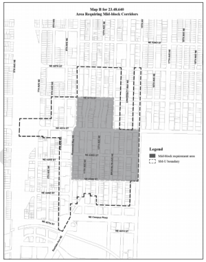 Area where mid-block corridors may be required. (City of Seattle)