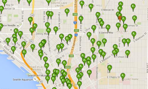 Locations of Zipcars. (Zipcar)