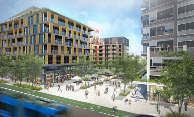 Rendering of the Capitol Hill Station site redeveloped, looking from the southeast. (Gerding Edlen)