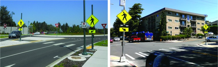 Left: Rapid flashing beacons at a roundabout. Right: rapid flashing beacons installed in 2015 at the intersection of 15th Avenue NE and NE 55th Street. (Photos by the author)