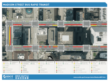 Overview the bus route in Downtown. Click to enlarge. (City of Seattle)