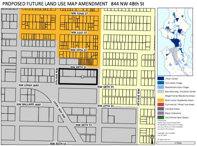 Proposed Ballard FLUM amendment. (City of Seattle)