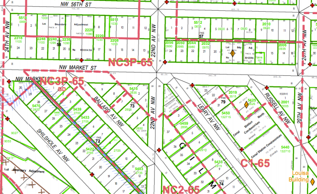 Zoning map showing parcel line and historic lot lines. (City of Seattle)