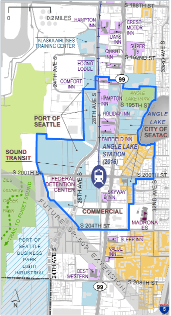 The blue line makes the station overlay district with the major landholders labeled. (SeaTac)