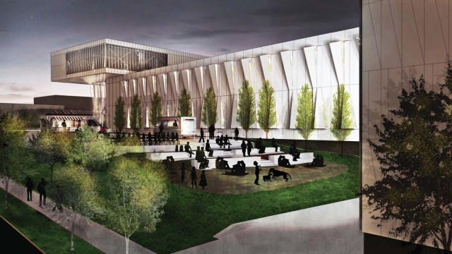 Outdoor ampitheater style seating space is part of the public benefit purported in the design.