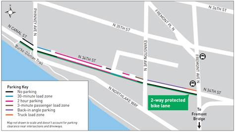 Bicyclists will have a 2-way PBL on N 34th St. (SDOT)